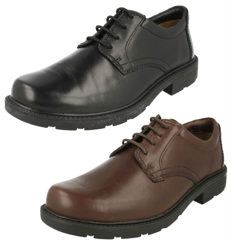 Para Hombre Clarks guarida Reloj Negro O De Cuero Marrón Oscuro Plain Front Lace Up Shoes