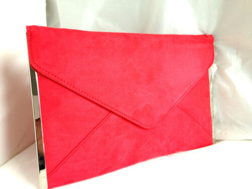 NEW NEON CORAL ORANGE FAUX SUEDE EVENING DAY CLUTCH BAG WEDDING PROM PARTY CLUB