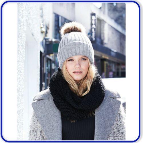 Ladies Chunky Beanie Fur Pom Pom Hat Womens Girls Stylish Knitted Winter Hat