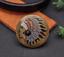 Antique-Brass-Southeast-Ethnic-Indian-Head-Turquoise-Leathercraft-Belt-Conchos miniature 3