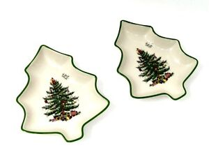 Spode-Christmas-Tree-Set-of-2-Tree-Shaped-Dishes-6-034-Candy-Bowl-Collectible-50