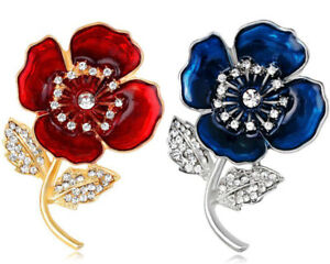 32d1644559e HOT Women Red Poppy Badges Enamel Flower Pin Brooch Enamel Crystal ...