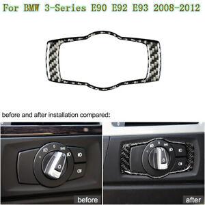 For-BMW-3-Series-E90-92-93-2008-2012-Carbon-Fiber-Car-Headlight-Lamp-Switch-Trim