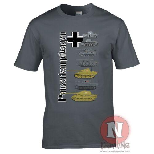 Panzerkampfwagen WW2 German military history T-shirt World Tanks armour teeshirt