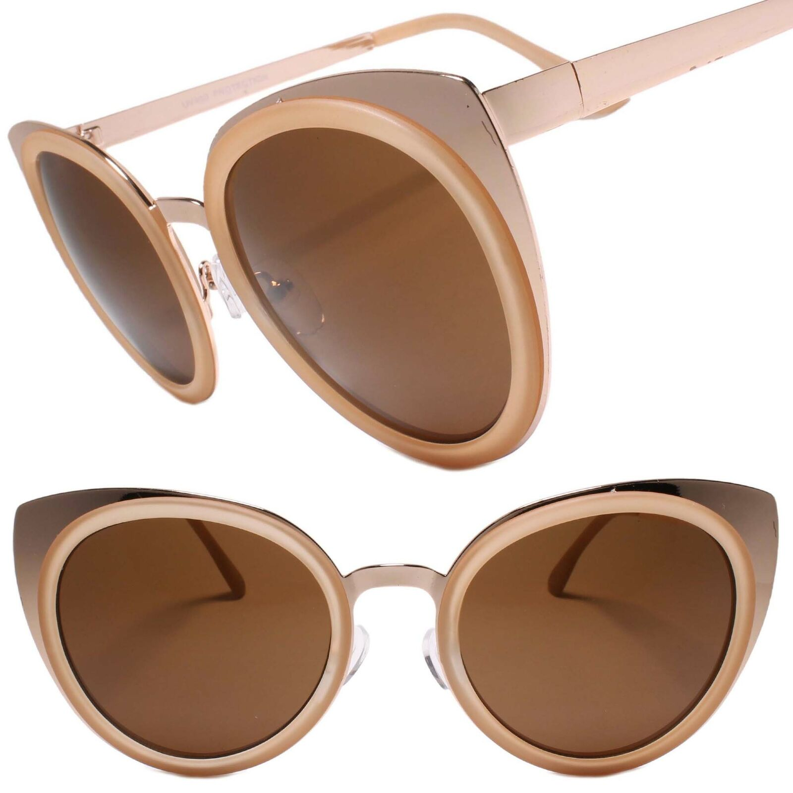 Classy Gorgeous Elegant Fancy Upscale Gold & Beige Womens Cat Eye Sunglasses
