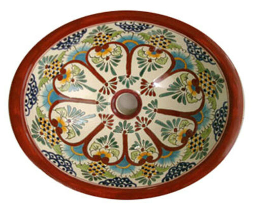 #076 LARGE BATHROOM SINK 21X17 MEXICAN CERAMIC HAND PAINT DROP IN UNDERMOUNT
