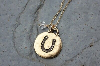 Lucky Horse Shoe necklace- birthstone, 14k gold filled chain, plated luck charm