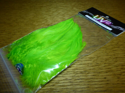 """SPIRIT RIVER UV2 CHARTREUSE SADDLE HACKLE 5-7/"""" STRUNG NEW FLY TYING FEATHERS"""