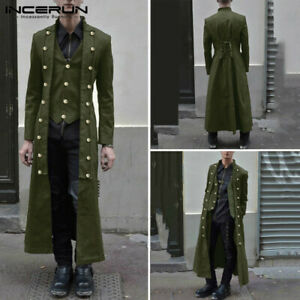 Steampunk-Men-039-s-Gothic-Long-Sleeve-Jacket-Medieval-Overcoat-Victorian-Retro-Coat