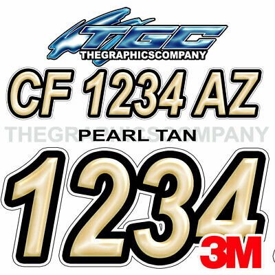 PEARL WHITE ORANGE Custom Boat Registration Numbers Decals Vinyl Stickers USCG