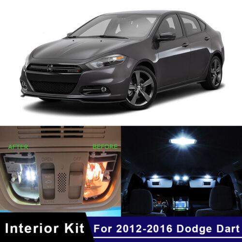 8x LED White Car Map Dome Lights Interior Package Kit For 2012-2016 Dodge Dart