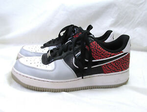 Nike Air Force 1 Low Black Total Crimson Elephant