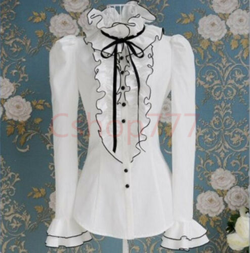 Womens Tops High Neck Frilly Ruffle Victorian Casual Long Sleeves Shirts Blouse