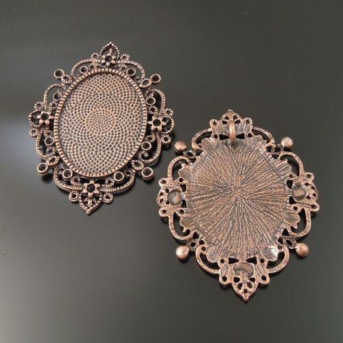 5pcs Vintage Copper Tone Oval Charm Fashion Jewelry Cameo Setting Pendant