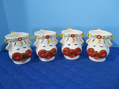Cow Face Mugs Cute Cups Flowers Vintage Maceral Mexico Set of 4 Unused with Tags