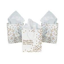 12 x Paper Medium Metallic Gold Dot Thank You Wedding Gift Bags