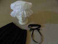 Ladies/girls 3 piece Victorian/edwardian mop cap, collar, teachers costume,