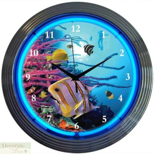 "AQUARIUM FISH NEON CLOCK 15/"" Wall Glass Face Chrome Finish Warranty Den Bar New"