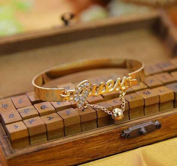 Fashion Womens Crystal Letter Charm Bangle Gold Silver Bracelets Jewelry Gift RA