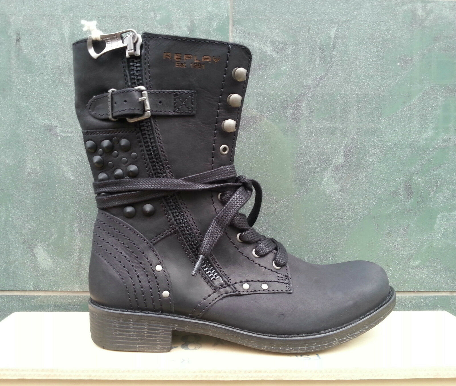 Zapatos señora zapatos Replay zapatos botín Echt Leder Chalice tachuelas nuevo