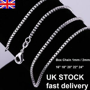 UK-Stock-Wholesale-10-Silver-Plated-Necklace-Box-Chain-16-18-20-22-24-Inch