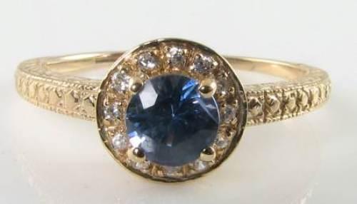 CLASS 9CT 9K gold CEYLON SAPPHIRE & DIAMOND ART DECO INS HALO RING