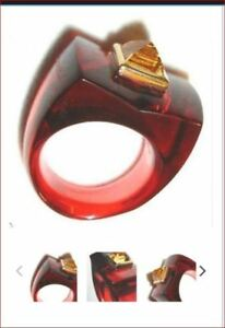 795-Baccarat-Guet-Apens-18k-Gold-Ruby-Crystal-Citrine-Ring-55-Size-7-Mint-Box