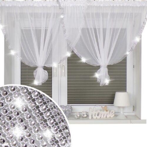 Bijoux Voile Blanc Filet Rideau avec Diamente Lace Prêt À Accrocher