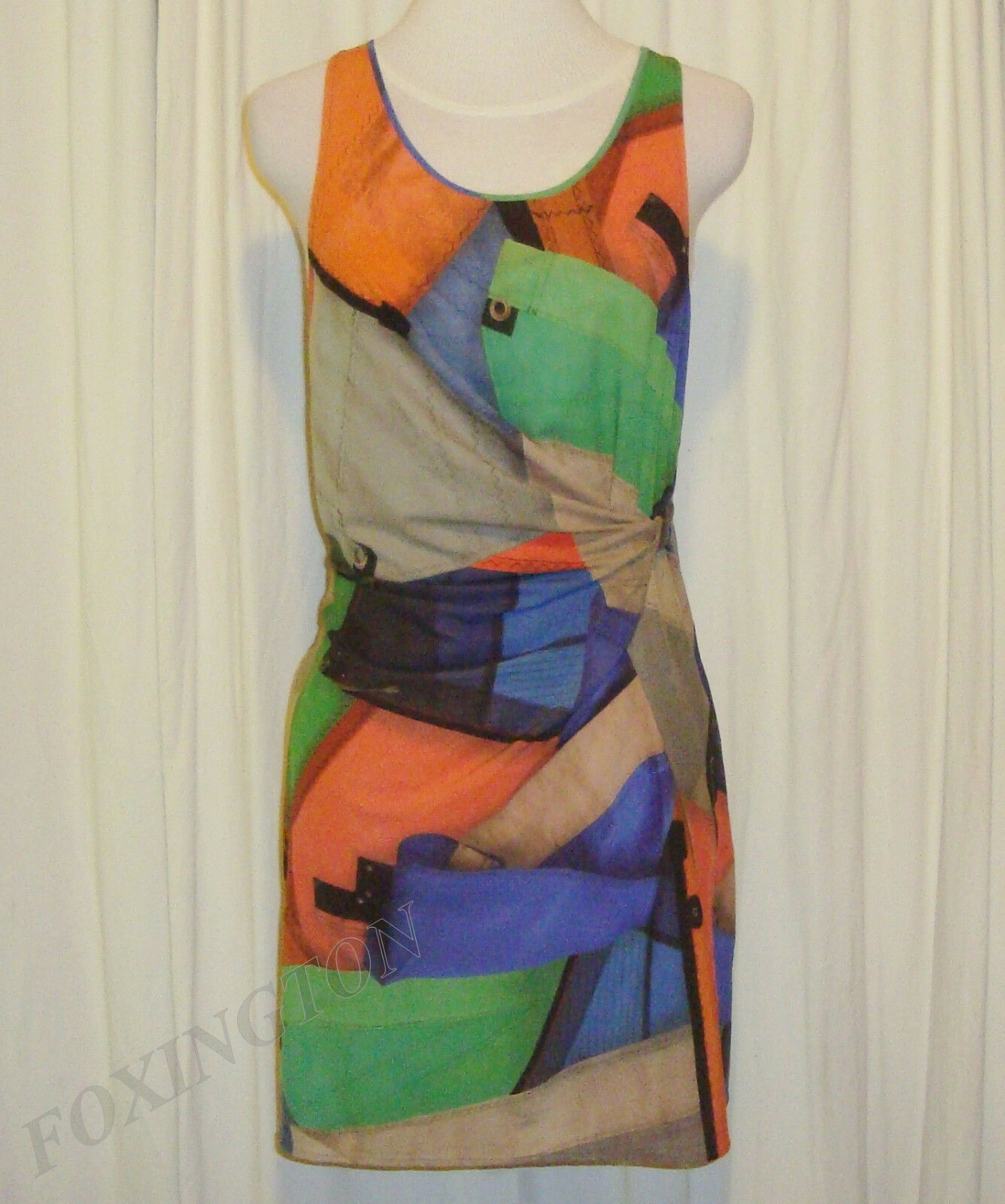 BEAUTIFUL PUMA by HUSSEIN CHALAYAN SAIL PRINT MINI DRESS US M,UK AUS 12