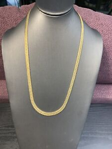 Ladies Vintage Plated  Necklace Flat decorative serpentine Chain 22 Inches Long