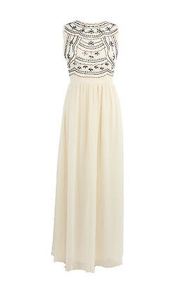 Ladies Beige Maxi Dress Embellished Bridesmaid Evening Party Prom Draped Gown