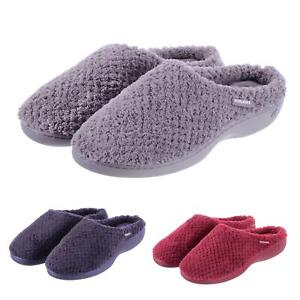 58f98a44a8f53 Details about Totes Isotoner Ladies Slippers Plush Popcorn Terry Mule Slip  On Comfort Support