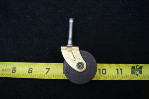 WOOD Caster With Brass Plated Metal Fork