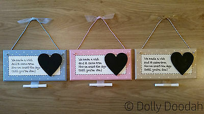 New Baby Pregnancy Wish Countdown Plaque Chalkboard Maternity Shower Sign Gift