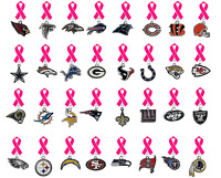 Nfl Lapel Pin breast Cancer Awareness Hot Pink Ribbon Pick Your Team Football