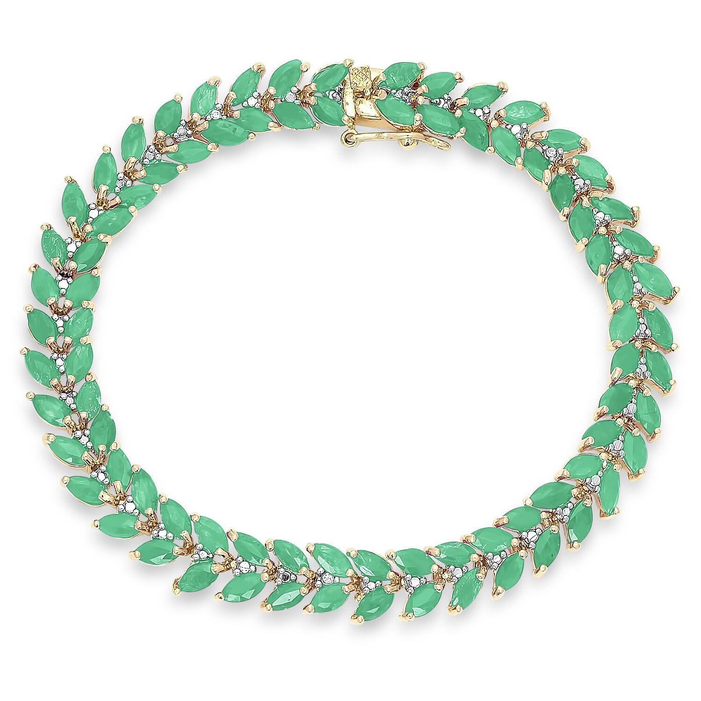 MARQUISE EMERALD DIAMOND TENNIS BRACELET + FREE RING SZ 5 SZ 6 SZ 7 SZ 8