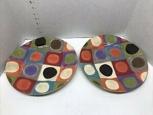 "Pier One Urban Dot Dinner Plates Set of 2 EUC 11 1/2"" Dia"