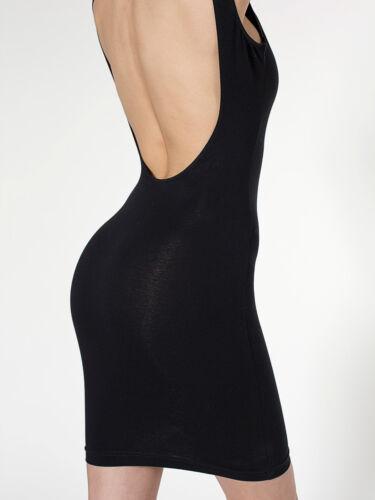 American Apparel Cotton Spandex Jersey Scoop Back Tank Dress Black-Natural Strp