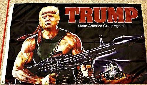 Donald J Trump Digital Print 3x5/' RAMBO Flag Make America Great Again Bazooka