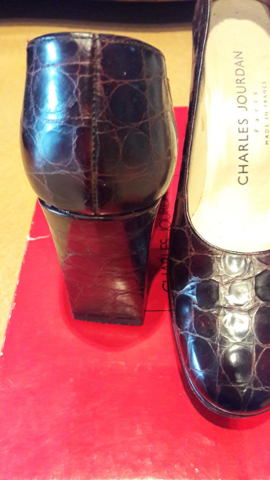 CHARLES JOURDAN Pumps, Gr. Leder im Kroccoprint, braun/mocca, Gr. Pumps, 6 1/2 271c5a