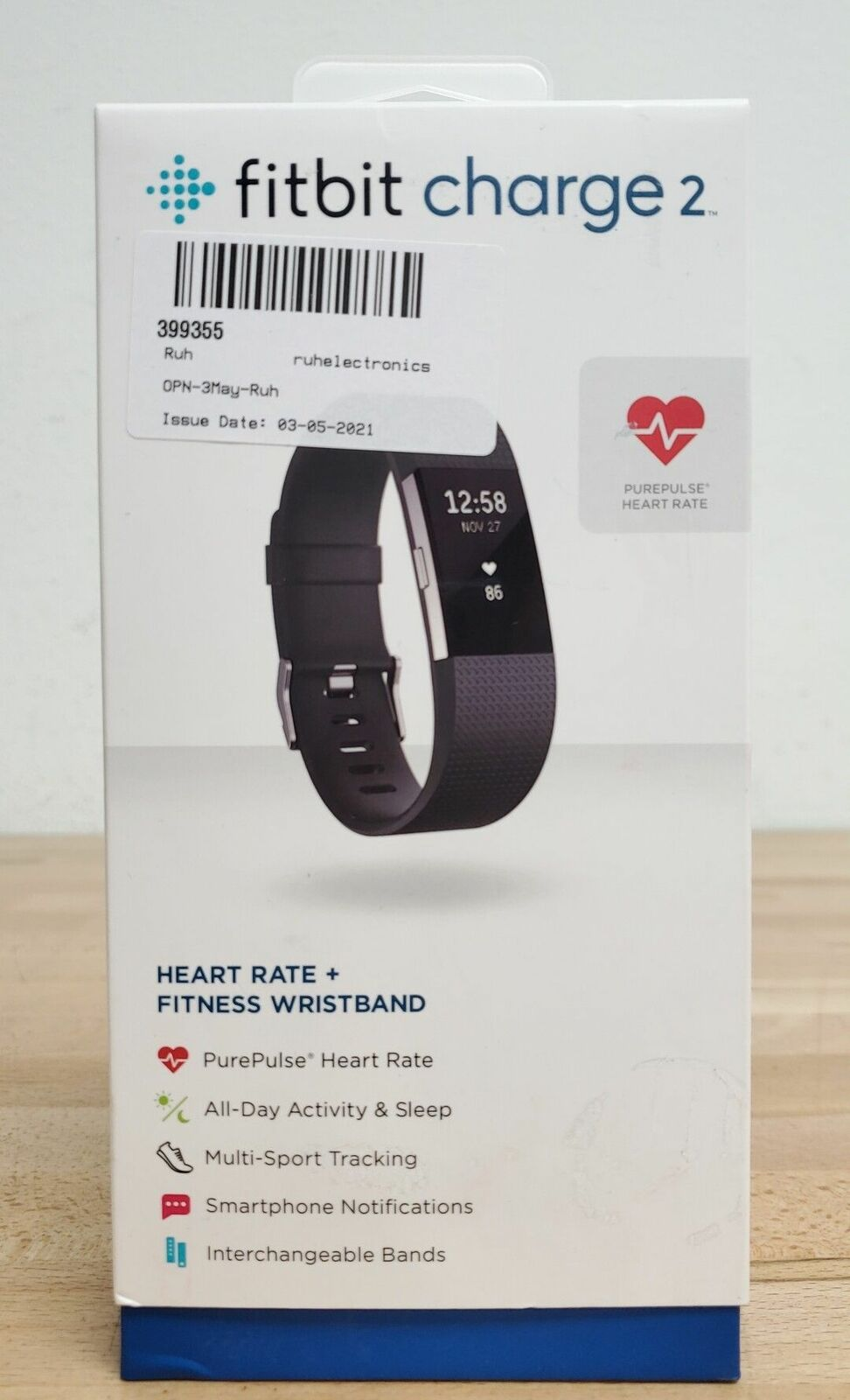 Fitbit Charge 2 Heart Rate Monitor Fitness Activity Tracker Large Black