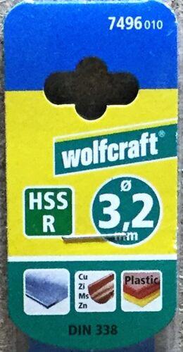 wolfcraft 1 HSS R Metallbohrer Spiralbohrer rollgewalzt D =  3,2 mm    7496010