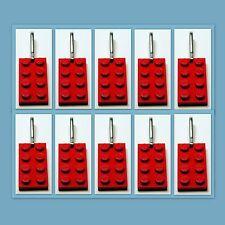 10 Lot Lego 3020 Red brick plate Zipper Pull Charm Book Bag School Bag Backpack