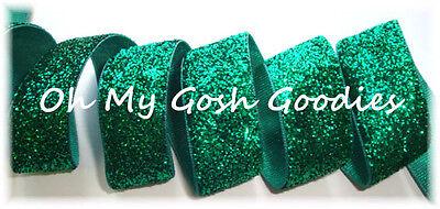 7/8 METALLIC GLITTER SHIMMER SPARKLE GLITZ BLING VELVET RIBBON 4 BOW GREEN 5YD