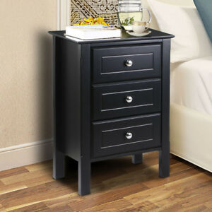 Image Is Loading Wooden Bedside End Table Storage Cabinet Chest 3