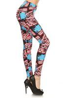Women's One Size Usa Flag Print Leggings Full Long S-xl Stretchy S103