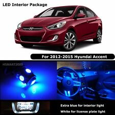 6PCS Blue Interior LED Bulbs for 2012 - 2015 Hyundai Accent White for License