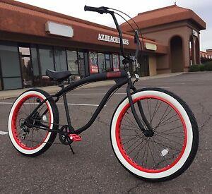 Fat Tire Beach Cruiser Bike 26x3 Flat Red 57mm Rims 7 Speed