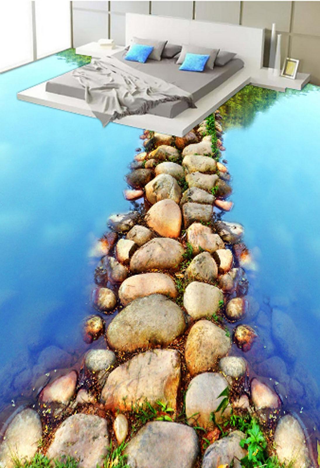 3D River Stone View 583 Floor WallPaper Murals Wallpaper Mural Print AJ AU Lemon