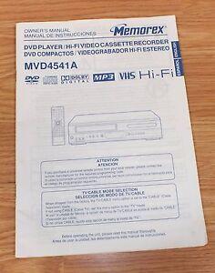 Memorex-Owner-039-s-Manual-Instructions-DVD-Player-Cassette-Recorder-For-MVD4541A